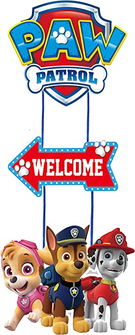 Pink Skye Paw Patrol Birthday Welcome Poster Door Decoration Wall Poster Party Supplies for Girls