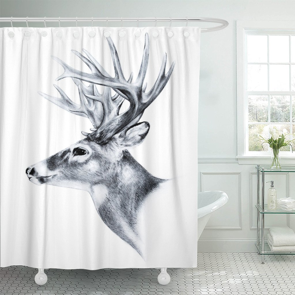 Emvency Shower Curtain Stag Big White Tail Deer Head Antler Trophy Sketch Buck Animal Clip Drawing Waterproof Polyester Fabric 72 X Inches Set With Hooks