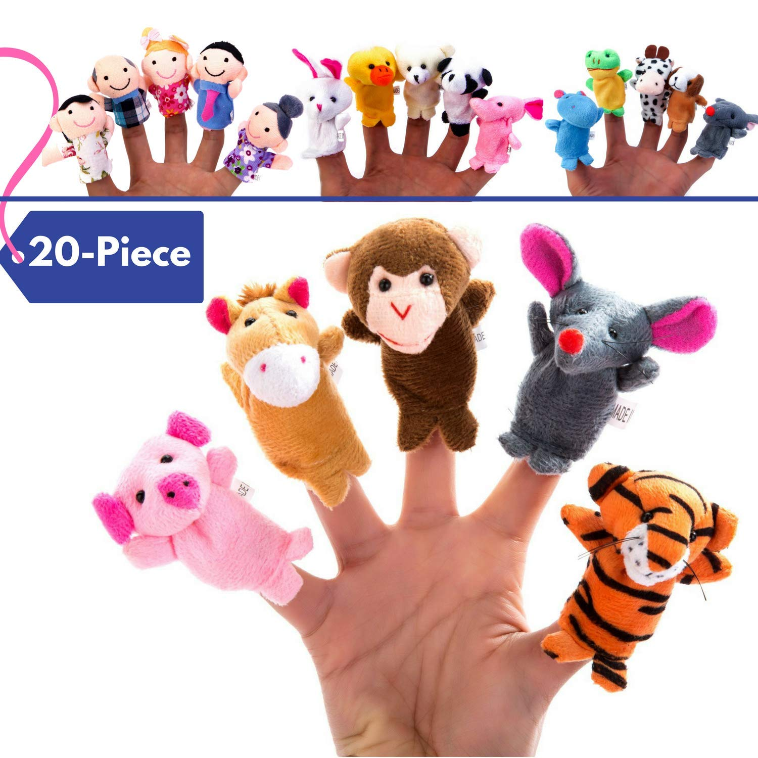 BETTERLINE 20-Piece Story Time Finger Puppets Set - Cloth Velvet Puppets - 14 Animals and 6 People Family Members