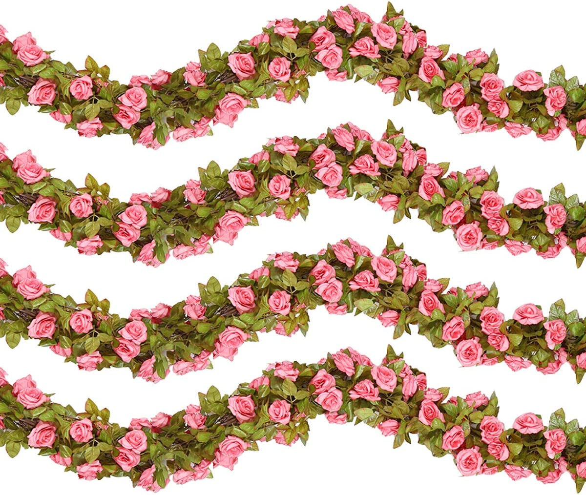 HEBE 4 Pack (29.8 FT) Artificial Rose Vine Garland Silk Fake Rose Flowers Garland Artificial Hanging Flower Plants for Home Hotel Office Wedding Party Arch Garden Decor, Pink
