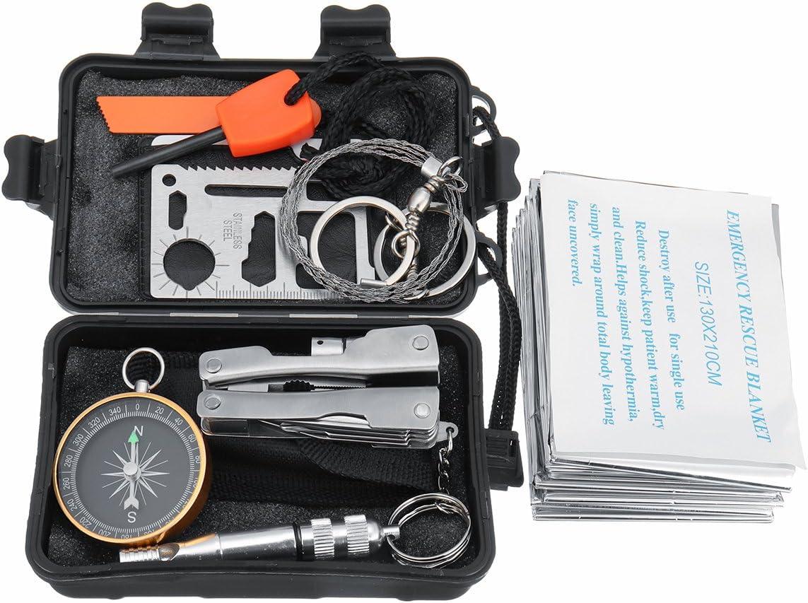 Faway 8 en 1 SOS Kit de Equipo de Supervivencia táctico de Caza con Caja de Almacenamiento Impermeable: Amazon.es: Deportes y aire libre