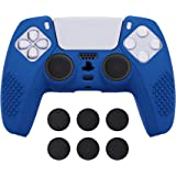 eXtremeRate PlayVital Blue 3D Studded Edition Anti-Slip Silicone Cover Skin for Playstation 5 Controller, Soft Rubber Case Pr