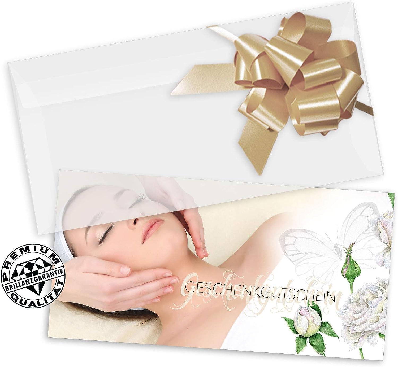 Gutscheine f/ür Kosmetikstudio Kosmetiksalon Kosmetikgutschein Kosmetikinstitut KS9277 10 Schleifen 10 Gutscheinkarten DIN-lang 10 Kuverts