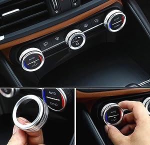 Yuwaton Fit for Alfa Romeo Giulia Stelvio Interior Accessories Car Interior Trim Air Conditioner Knob Cover (Silver)
