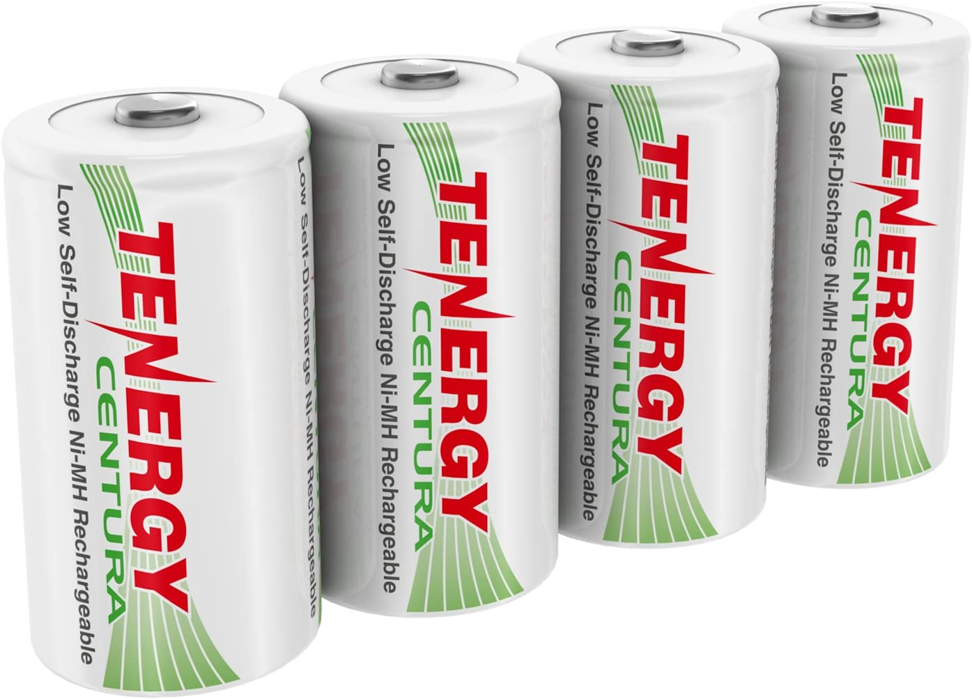 4 Pack Pre-Charged D Size Battery 8000mAh Low Self Discharge D Cell Batteries UL Certified Tenergy Centura 1.2V NiMH Rechargeable D Battery