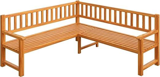 Deuba Banco de esquina de madera de eucalipto 145x145cm mueble con respaldo certificado FSC para jardín exterior terraza: Amazon.es: Jardín