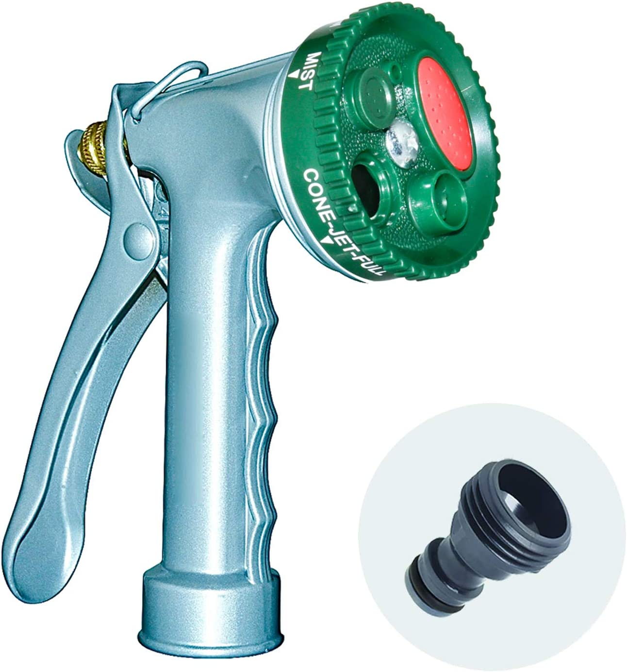 GUDWING Garden Hose Nozzle, Water Hose Nozzle Spray Nozzle, Metal Garden Hose Nozzle Perfect for Watering Plants, Washing Cars and Showering Dogs & Pets (Metal, Classic Metal DIal Nozzle)