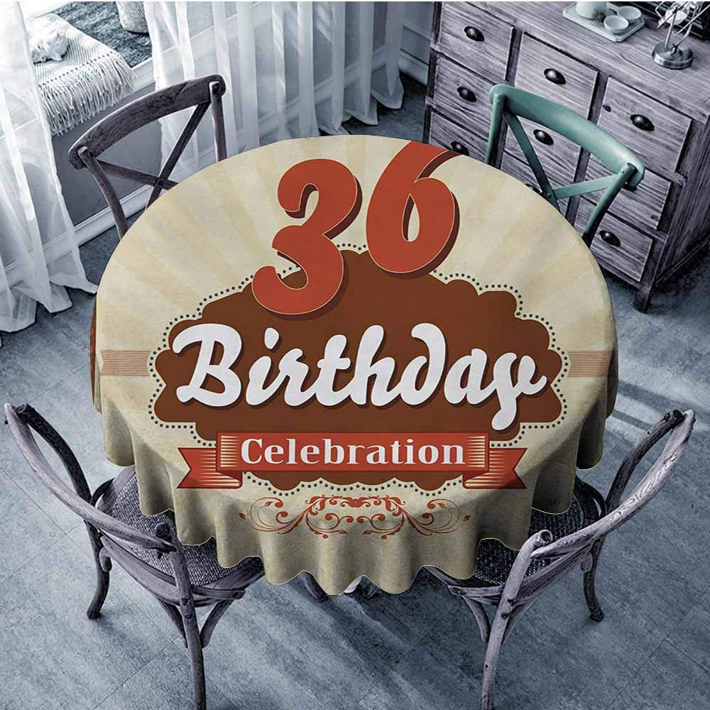 HeKua 36th Birthday,Beach Table Covers D 60'' Birthday Celebration Invite Chocolate Wrap Like Image Middle Age Round tablecloths Cinnamon and Brown