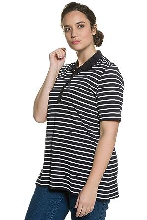 5c7a5beb03726 Ulla Popken Women s Plus Size Regular Fit Pique Polo Shirt Navy Blue Stripe  32 34