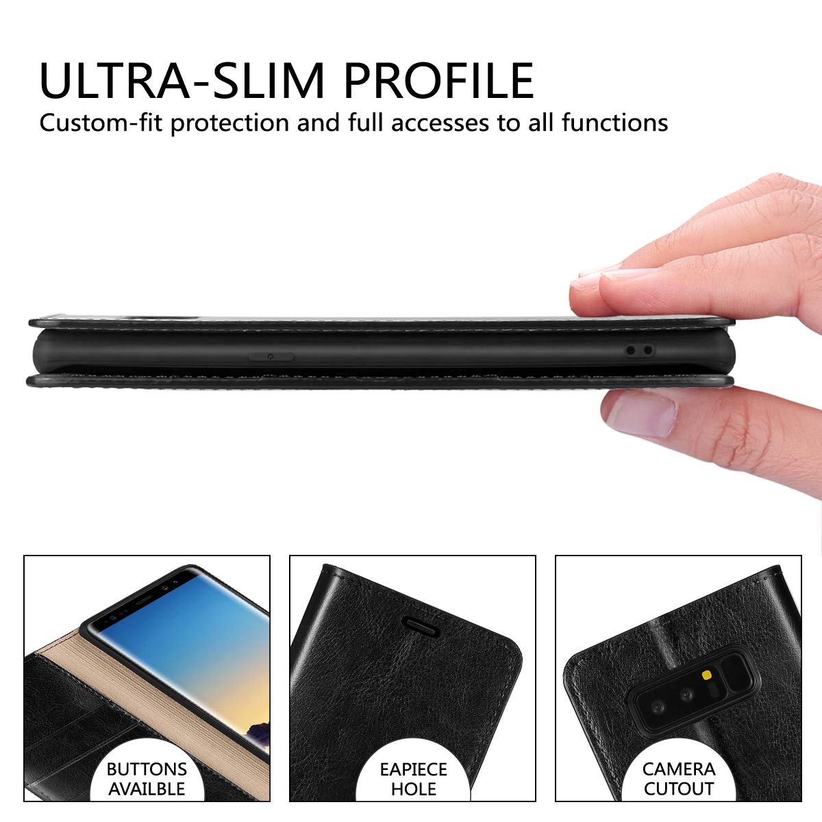 Black Folio Book Cover Cash Pockets Genuine Cowhide Leather Flip Case Kickstand Compatible Samsung Galaxy Note 8 Card Holder Slots Belemay Samsung Galaxy Note 8 Wallet Case