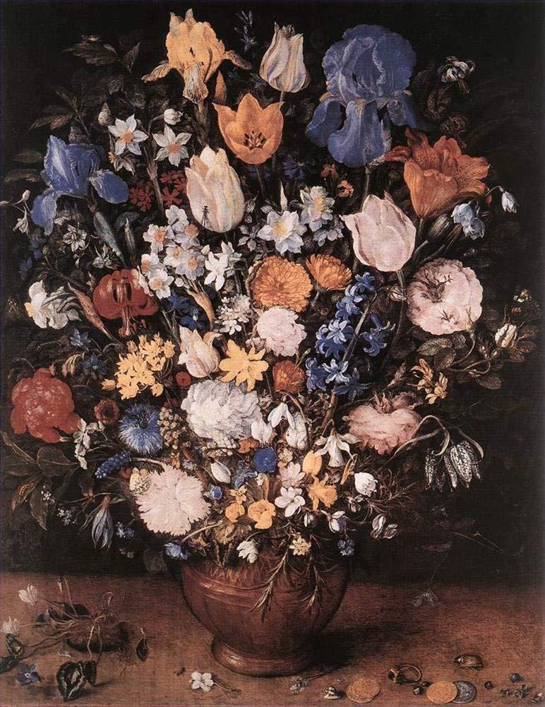 手描き-キャンバスの油絵 - Bouquet In A Clay Vase flower Jan Brueghel the Elder 芸術 作品 洋画 ウォールアートデコレーション -サイズ09 B07H9MSJX9  30 x 40 インチ