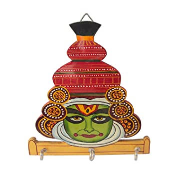 Amazon Com Handicrafts Wooden Traibal Kathakali Face Key Holder