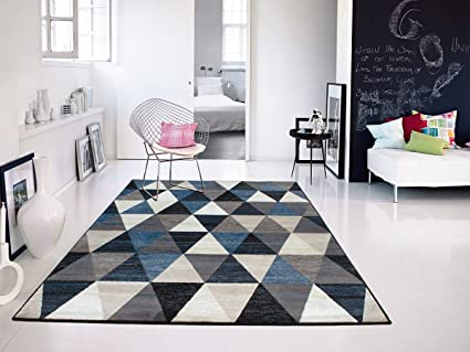 Premium Soft Plush Modern Rugs For Living Room Navy Blue Beige Cream Brown,  2x3