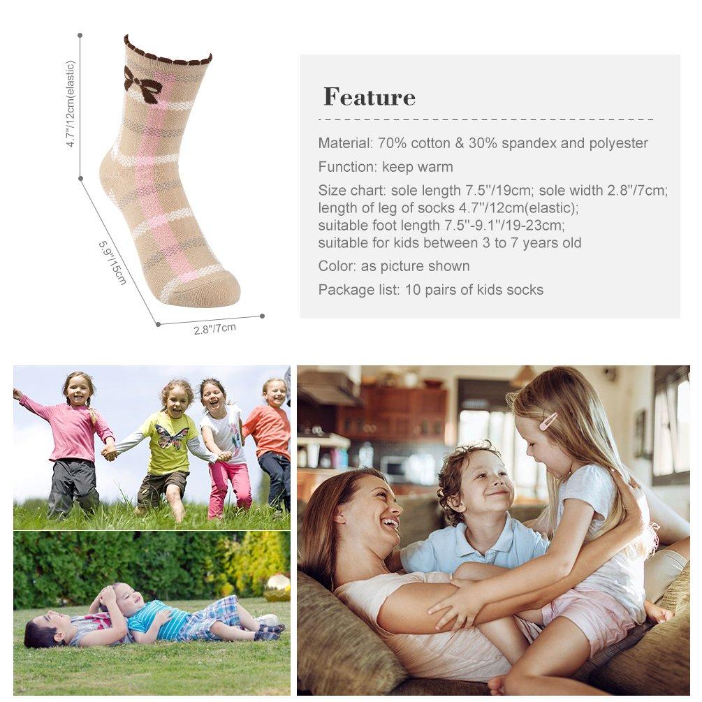 VBG VBIGER Girls Cotton Crew Seamless Socks Cute Novelty for Baby Toddler Kids 10 Pack ¡ by VBG VBIGER (Image #7)
