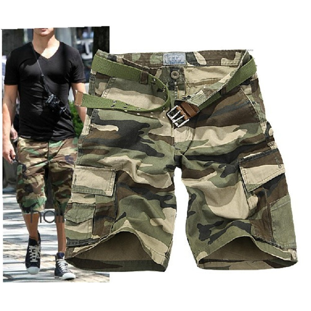 CRAZY Men's Retro Cotton Multi-Pocket Camo Cargo Shorts-dargreCamo-30 [Apparel]