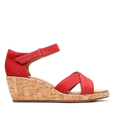 0419c5e4b6a Clarks Un Plaza Cross Nubuck Sandals in Red Wide Fit Size 3  Amazon.co.uk   Shoes   Bags