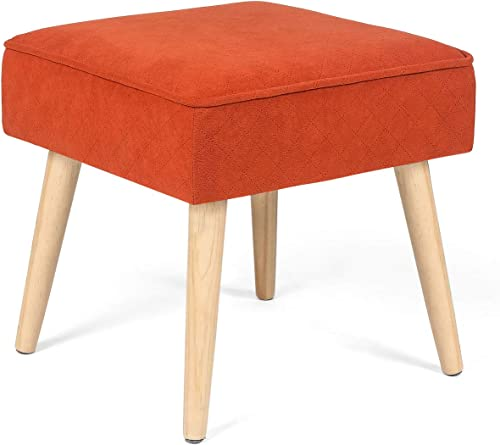 Joveco Ottoman Stool Small Footstool Fabric Footrest Bench Orange Red