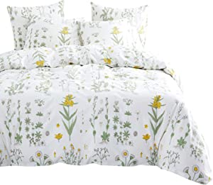 Wake In Cloud - Botanical Comforter Set, 4 Pillow Cases, Yellow Flowers Green Leaves Floral Garden Pattern Printed on White, 100% Cotton Fabric with Soft Microfiber Fill Bedding (Queen Size)