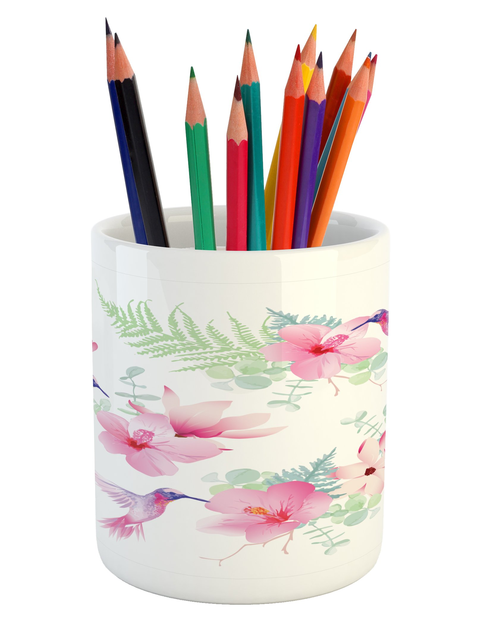 Ambesonne Hummingbirds Pencil Pen Holder, Tropical Flowers with Flying Hummingbirds Wild Nature Blooms, Printed Ceramic Pencil Pen Holder for Desk Office Accessory, Pale Pink Pale Green Purple