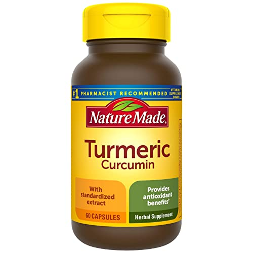 Nature Made Turmeric 500 mg Capsules, 60 Count for Antioxidant Support Packaging May Vary