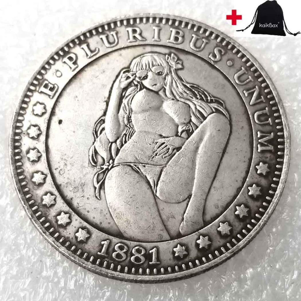 DengRen Morgan Hobo Coins - 1881 Hobo Nickel Coin -America Old Coin-USA Creative Funny Hand Carved Coin-Handmade Crafts+KaiKBax Gift Bag Satisfactory Service
