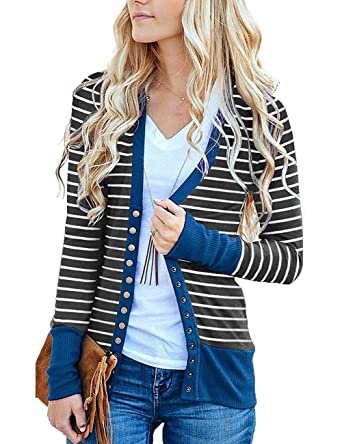 14e0abc78 Twinklady Women s Striped Snap Button Down Pockets Knit Casual Cardigan  Sweater (Blue