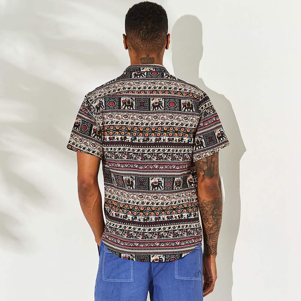 OLUOLIN Funky Hawaiian Shirt Men Short-Sleeve Casual Button Down Beash Shirts