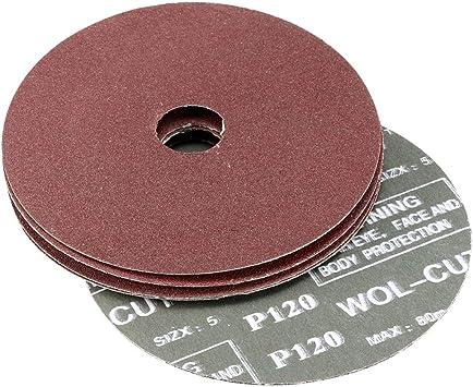 5-Inch x 7//8-Inch Aluminum Oxide Resin Fiber Discs Center Hole 24 Grit 5 Pcs