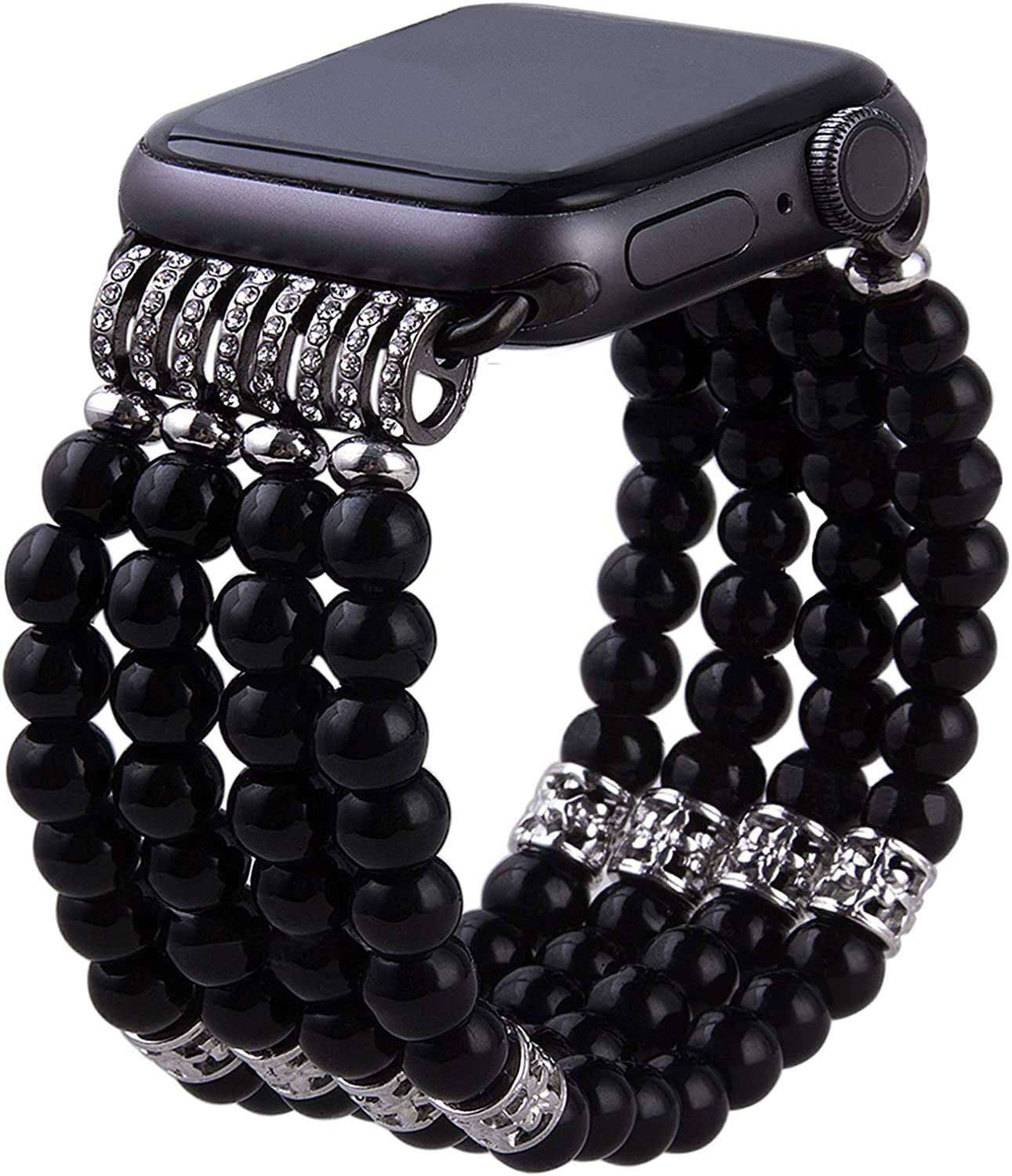 VIQIV for Handmade Beaded Compatible with Apple Watch Band 38mm 40mm 42mm 44mm Iwatch Series 6/5/4/3/2/1, Elastic Stretch Faux Pearl Bracelet Replacement Wristband Strap for Women Girls