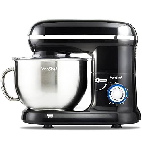 VonShef 800W Black Food Stand Mixer - 5.5 Litre Mixing Bowl with Splash Guard - Includes Beater, Dough Hook & Whisk
