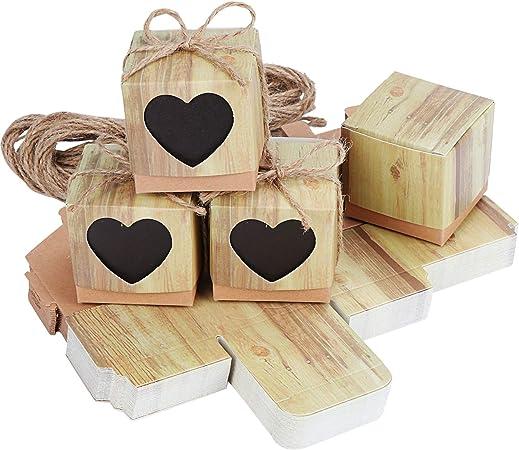 TsunNee - Caja de papel kraft para dulces, cajas de regalo de boda, caja de regalo con forma de corazón, cajas de papel rústico para dulces Natural 2: Amazon.es: Hogar