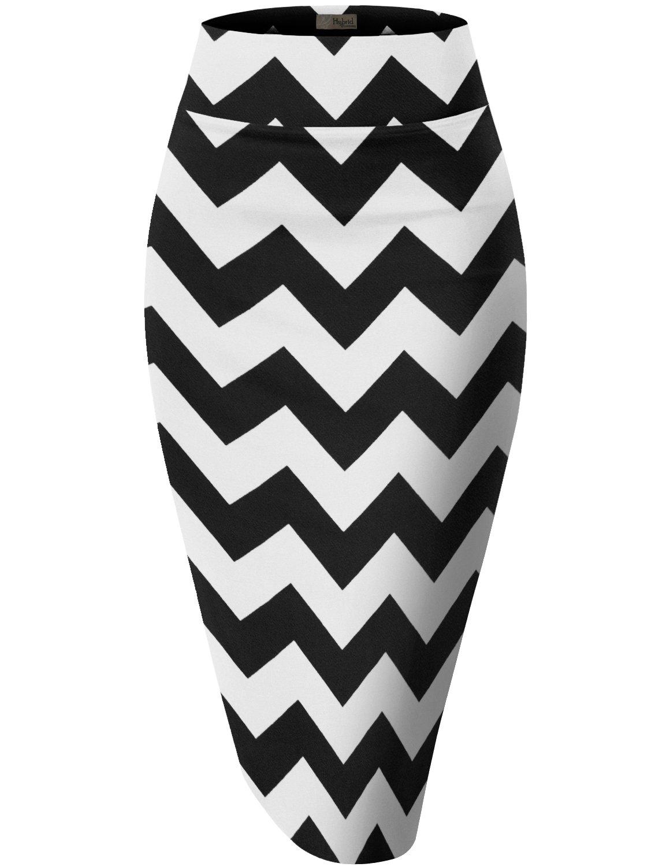 HyBrid & Company Womens Pencil Skirt for Office Wear KSK43584X 10617 Black/Whit 3X