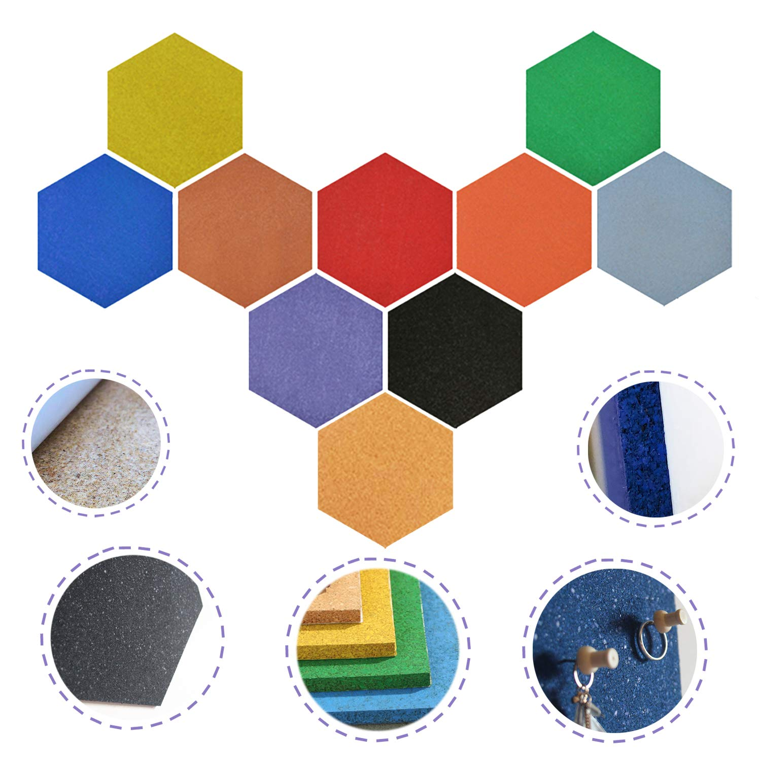 Red-Nb Hexagon 13.6\' x12'' Colored Self-Adhesive Cork Bulletin/Titles Board (10 Colors Assorted)