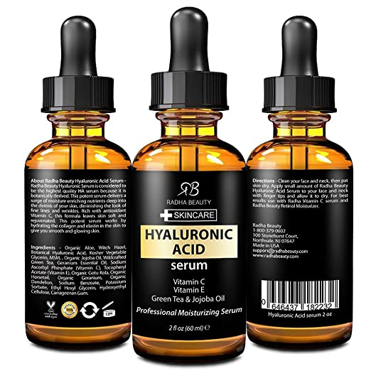Hyaluronic Acid Serum For Face & Skin - Best Moisturizing and Anti aging Serum With Hyaluronic Acid, Vitamin C, Vitamin E & Green Tea by Radha Beauty