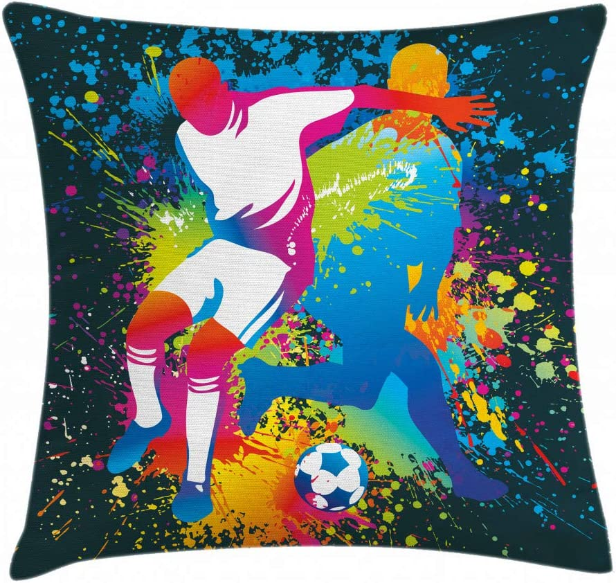 Decorative Rectangle Accent Pillow Case 36 X 16 Lunarable Sports Throw Pillow Cushion Cover Multicolor Composition 2 Soccer Players Competing Ball with Color Splashes Stains