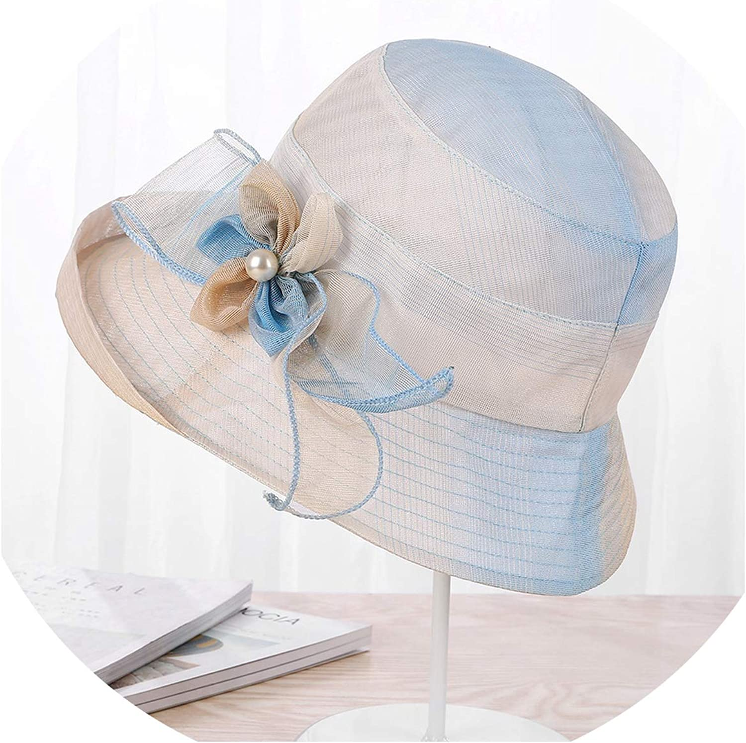 Wide BriFloral Hats Pearl Flowers Floppy Visors Female Elegant Sea Beach Caps Sun Protective