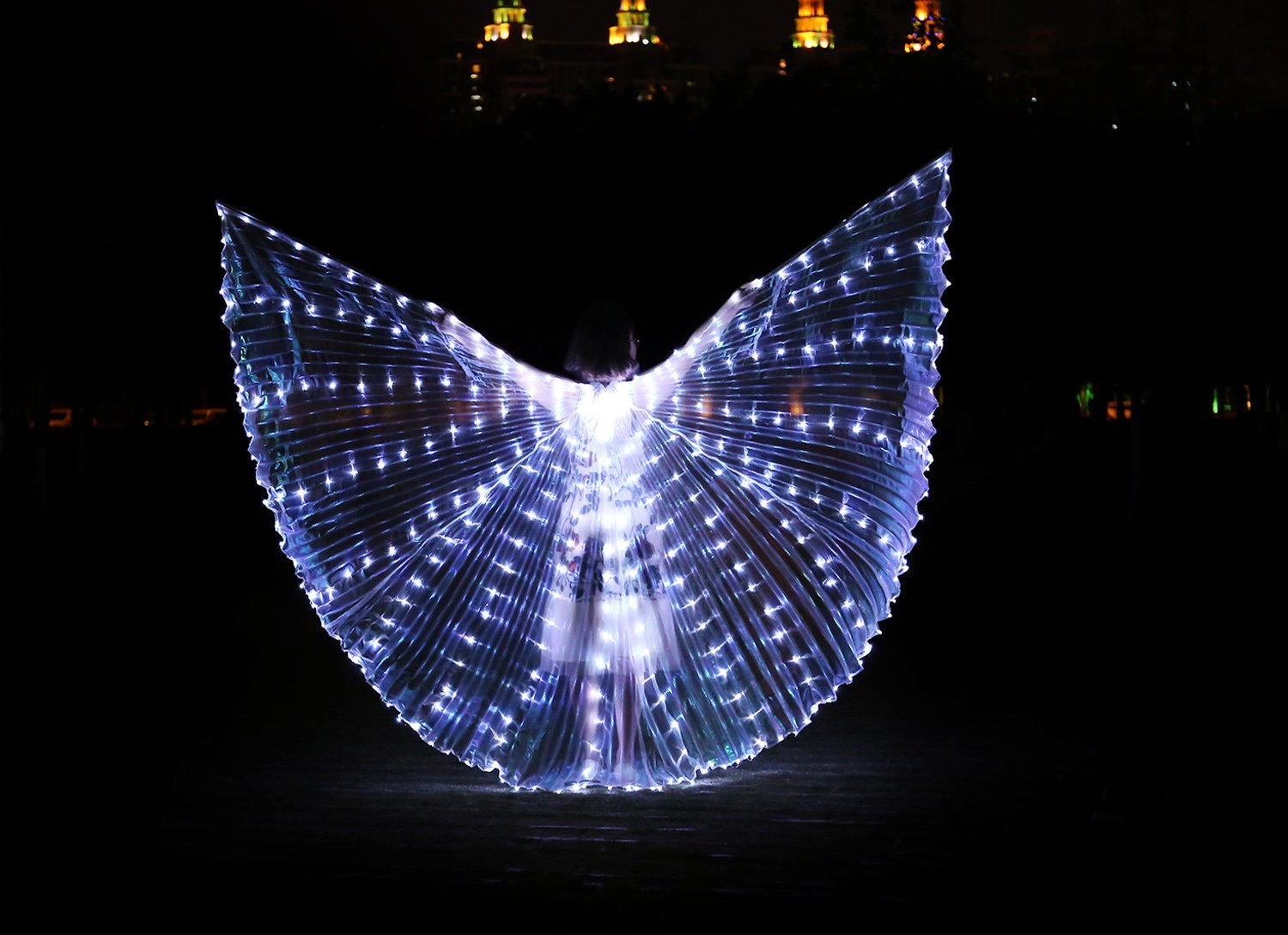 Dance Fairy Belly Dance LED Isis Wings with Stick(White) by Dance Fairy (Image #2)