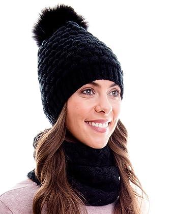 9fca07d65a03f1 Hilltop Winter Kombi Set, bestehend aus Damen Schal und passender Strick- Mütze. Bommelmütze mit Pompon. Aktuelle Farben und Designs, Winter Set:2A-schwarz:  ...