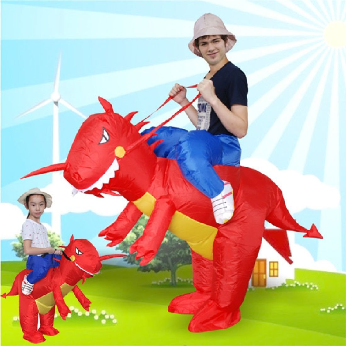 Fan Operated Adult Kids Size Halloween Animal Costumes Dino Rider T-Rex