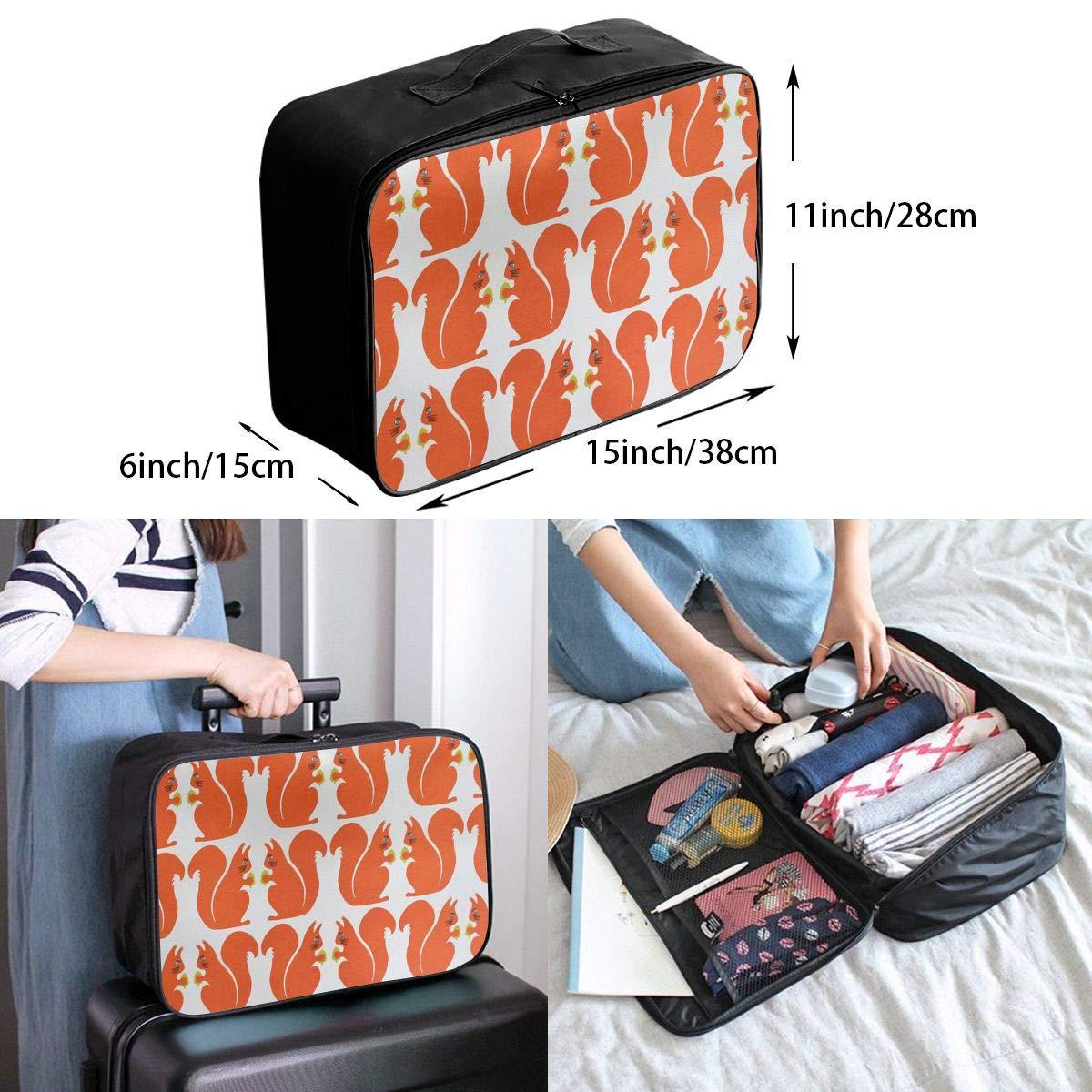 Travel Luggage Duffle Bag Lightweight Portable Handbag Squirrel Pattern Large Capacity Waterproof Foldable Storage Tote