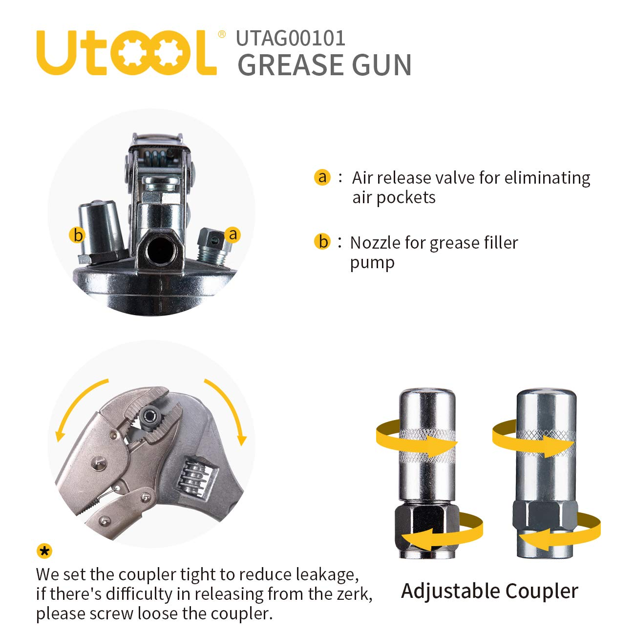 UTOOL Grease Gun Heavy Duty Pistol Grip Grease Gun Set with 7,000 PSI, 14 oz Load, 18 Inch Spring Flex Hose, 2 Working Coupler, 2 Extension Rigid Pipe and 1 Sharp Type Nozzle Included by UTOOL (Image #4)