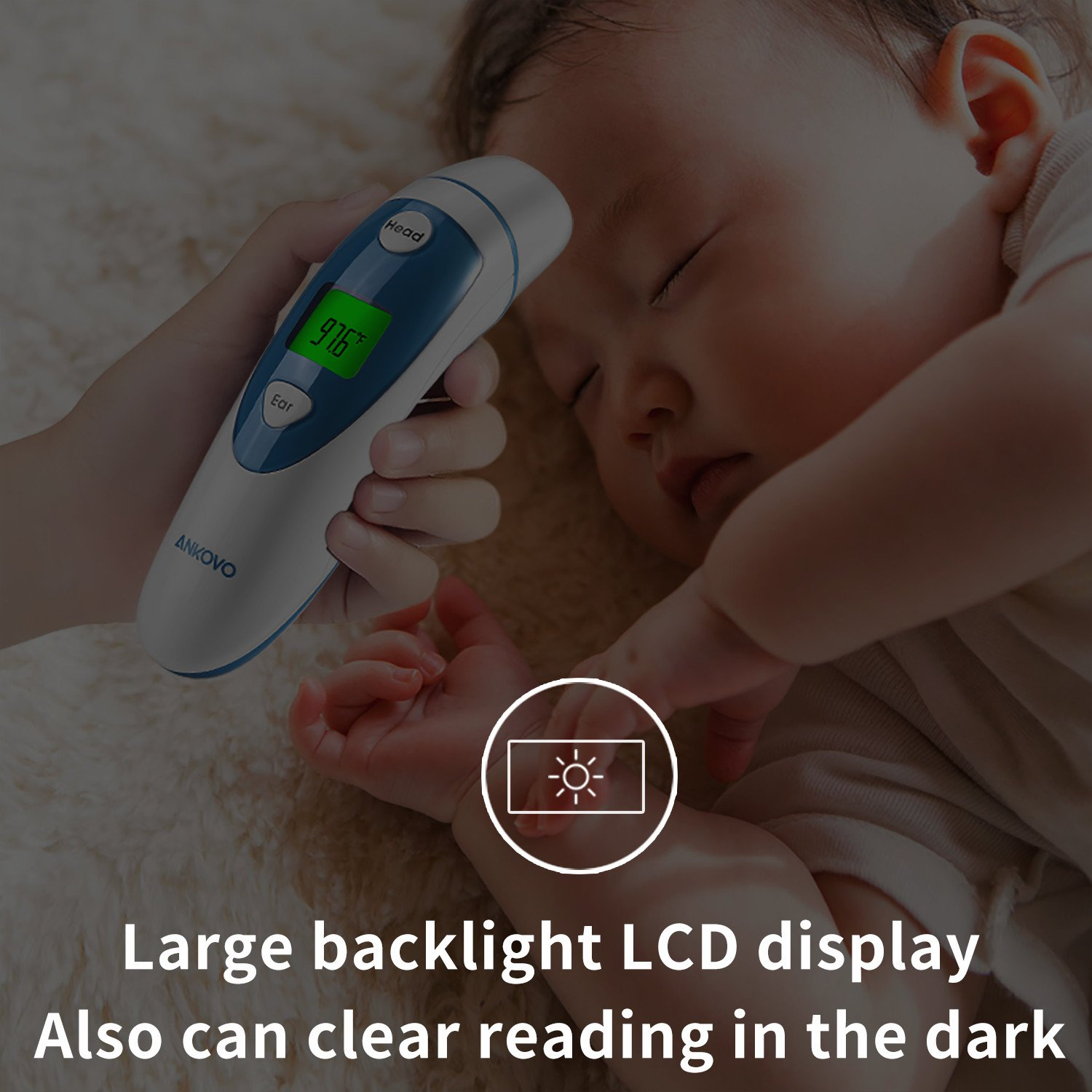 ANKOVO Thermometer For Fever Digital Forehead and Ear Thermometer Medical Infrared for Baby Kids Adults with Fever Indicator by ANKOVO (Image #7)