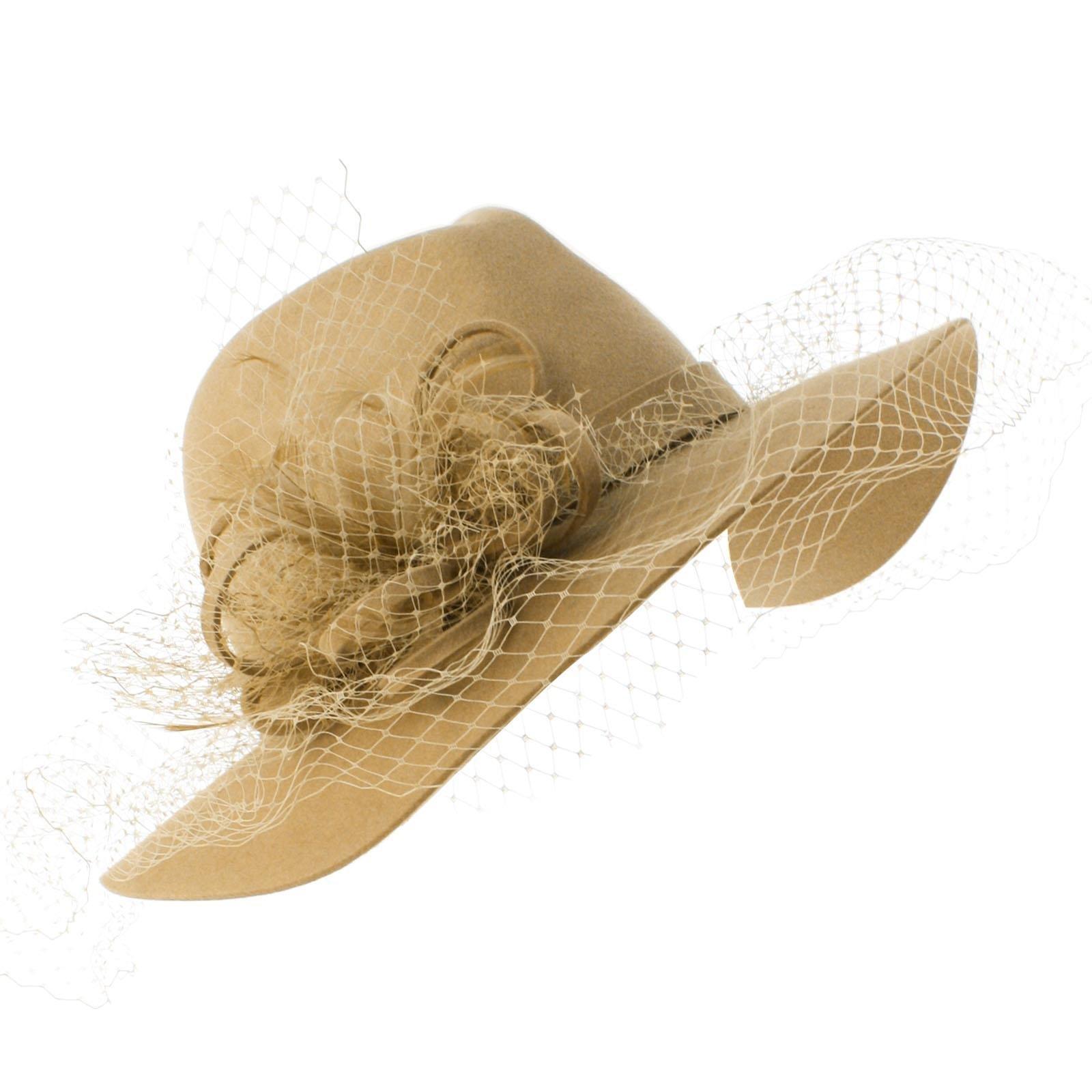 SK Hat shop Winter 100% Wool Felt Netting Overlay Fedora Floppy Wide Brim Derby Hat Taupe