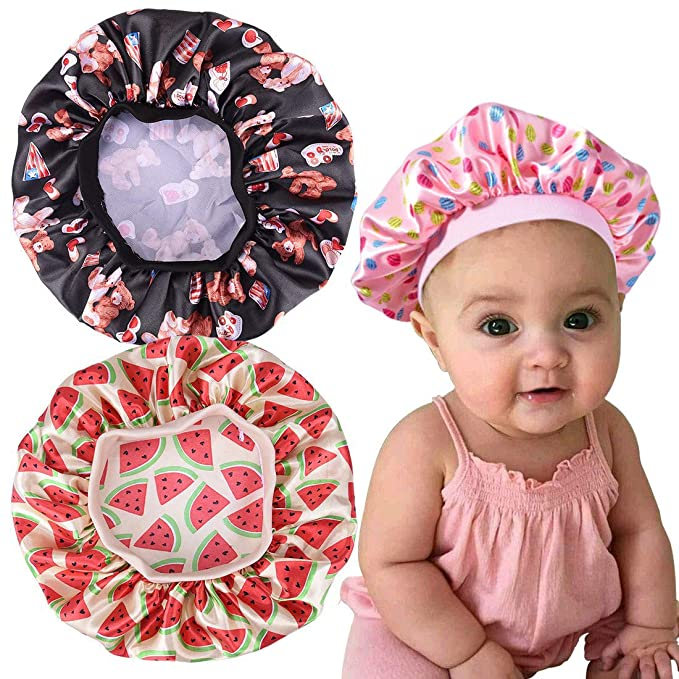 AKISS Exquisite Reversible Satin Lined Hair Sleep Bonnet for Baby//Newborn//Infant//Toddler//Kids and Mommy//Women