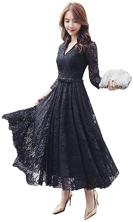 65df44425ed45 Yijinxiu パーティードレス ロングドレス ブラック ワンピース 結婚式 ドレス Vネック レース 二次会 フォーマル 舞踏