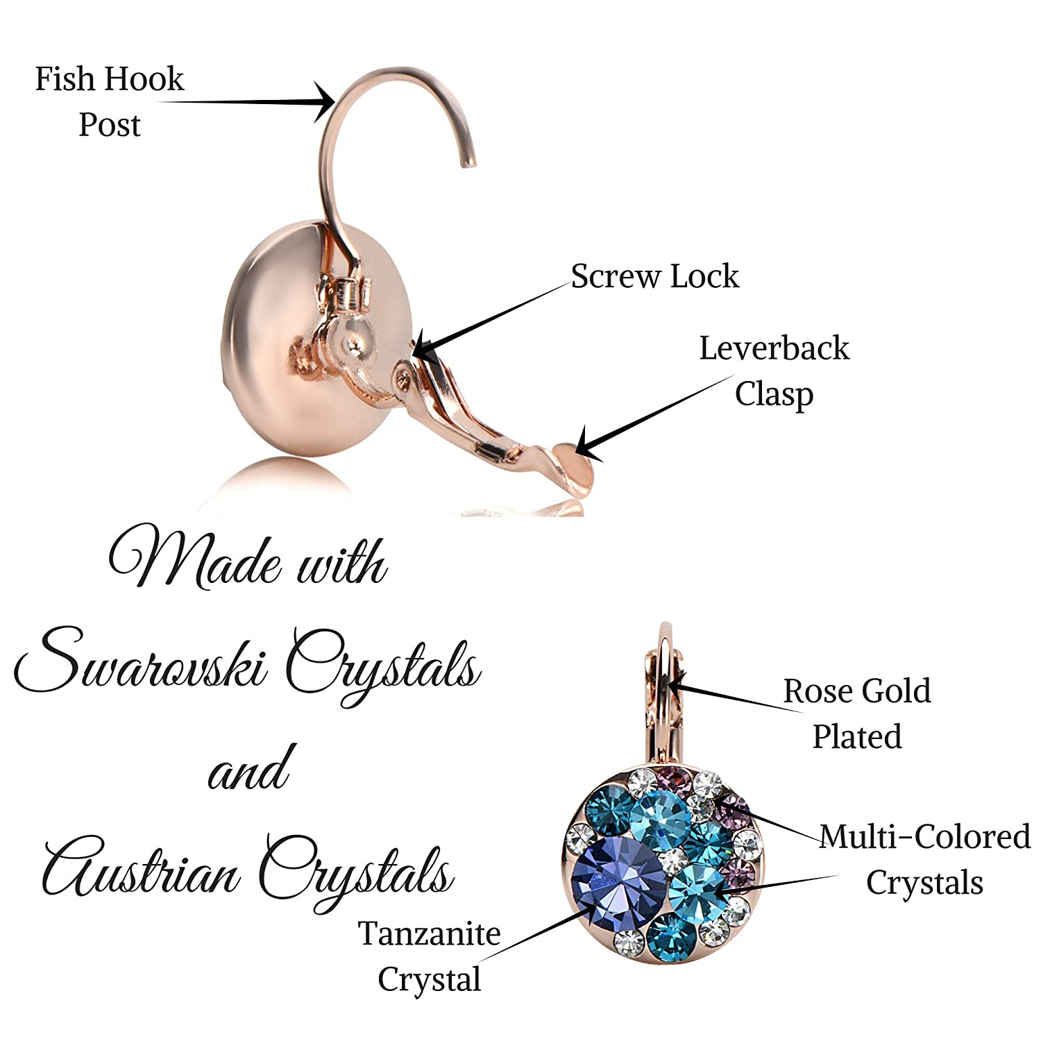 9dd036b86fcdd7 Amazon.com  UPSERA Colorful Dangle Leverback Earrings for Women Made with  Swarovski Crystals 18k Rose Gold or Silver Tone Plated Fashion Drop Jewelry  Gift ...