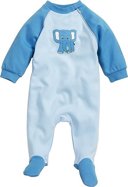 Playshoes Schlafoverall Interlock Elefant - Pijama Unisex bebé, Color Azul, Talla 56 (Talla