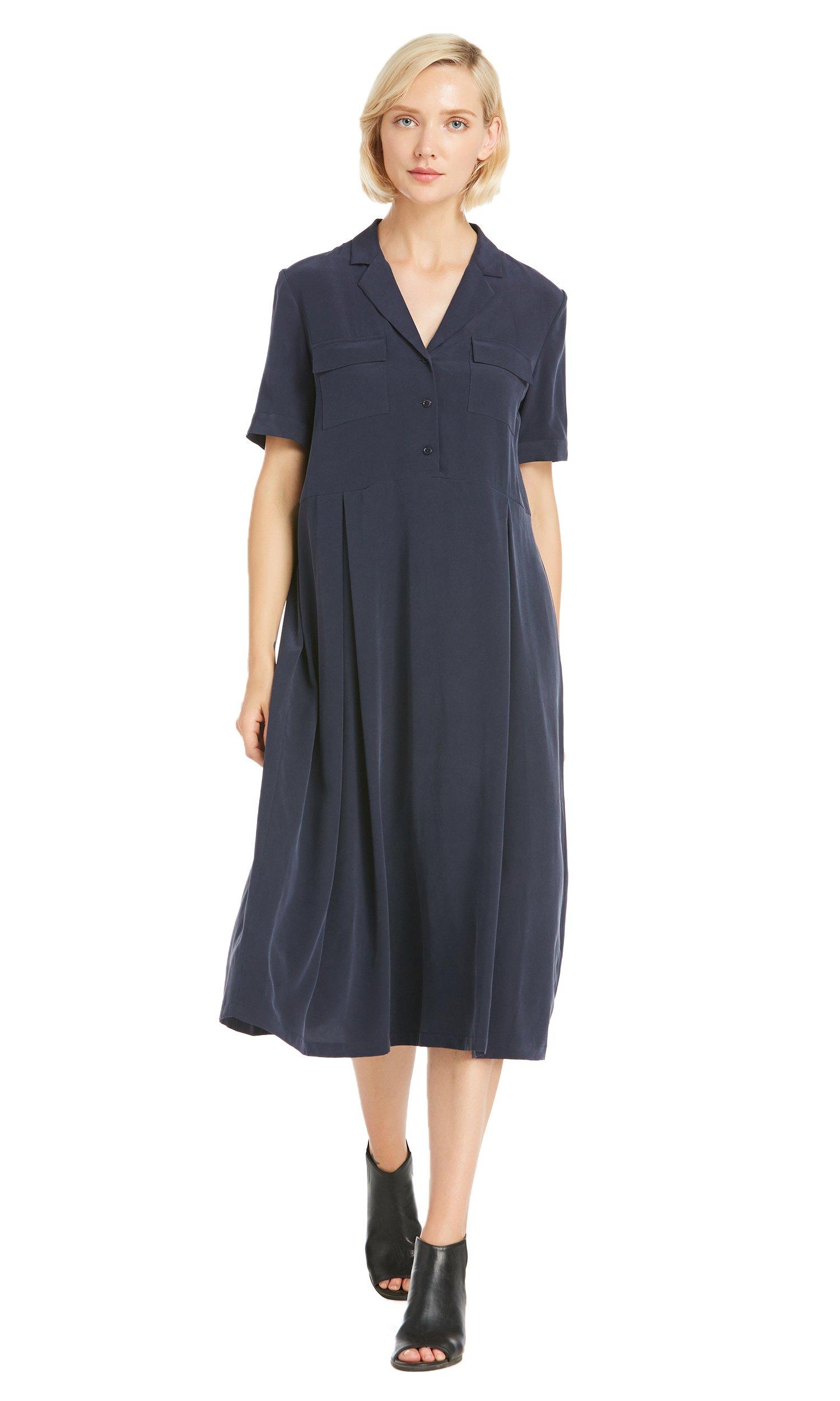 LILYSILK Womens Silk Shirt Dress Pure Mulberry 23MM Notched Collar Formal Work Office Lady Business Elegant Designer Navy Blue XXL/18-20 by LilySilk