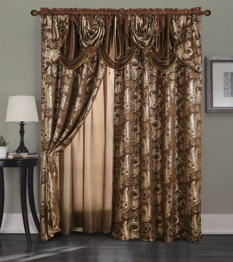 """Golden Rugs Jacquard Luxury Curtain Window Panel Set Curtain with Attached Valance and Backing Bedroom Living Room Dining 55""""X84"""" Each Jana Collection(Brown)"""