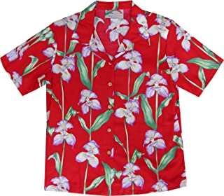 product image for Paradise Found Women's Orchid Corsage Palm Aloha Shirt, Red, L